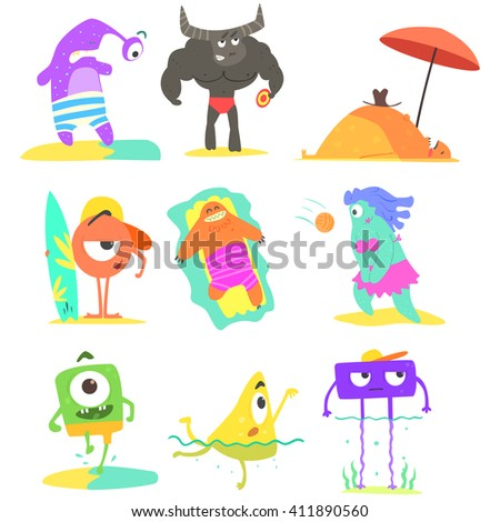 Monsters  On The Beach Childish Funny Flat Vector Illustrations Set Isolated On White Background - stock vector