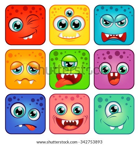 Monsters. Square cartoon faces with emotions