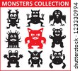 Monsters vector illustration. Monsters collection. Monsters character. Design elements.  - stock vector