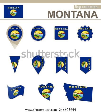 Montana Flag Collection, USA State, 12 versions - stock vector