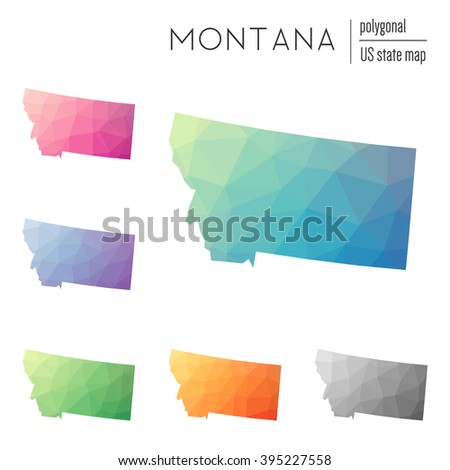 Montana state map in geometric polygonal style. Set of Montana state maps filled with abstract mosaic, modern design background. Multicolored state map in low poly style. - stock vector