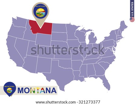 Montana State on USA Map. Montana flag and map. US States.
