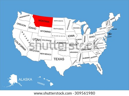 Montana State, USA, vector map isolated on United states map. Editable blank vector map of USA. - stock vector