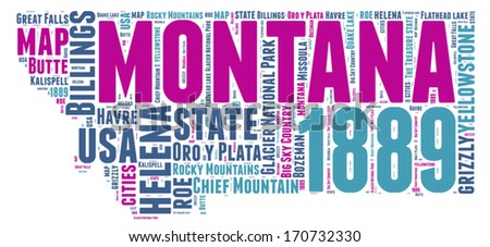Montana USA state map vector tag cloud illustration - stock vector