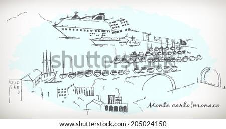 Monte Carlo city, Monaco vector - stock vector