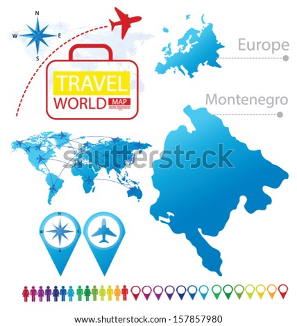 Montenegro. Map. Europe. Modern globe. Travel vector Illustration. - stock vector