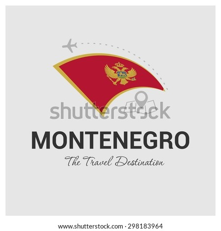 Montenegro The Travel Destination logo - Vector travel company logo design - Country Flag Travel and Tourism concept t shirt graphics - vector illustration - stock vector