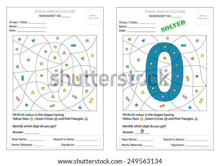 Montessori Worksheet: Fill the defined shapes with color & identify the hidden digit. Includes learning of basic shapes & digits. Ready to print worksheet and can be edited as required. - stock vector