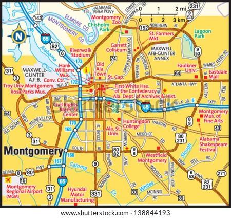Montgomery Alabama Area Map Stock Vector Shutterstock