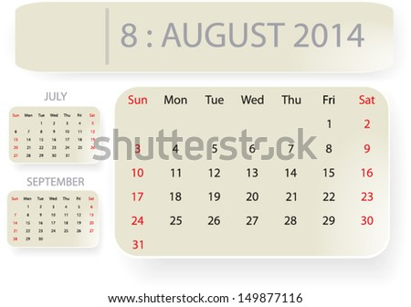 Month August 2014 Calendar Template Background Stock Vector
