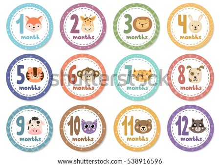 Monthly Baby Stickers Cute Animals Vector Stock Vector