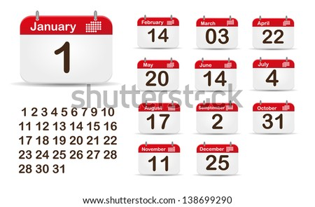 Monthly Calendar Editable EPS 10 Vector Illustration. - stock vector