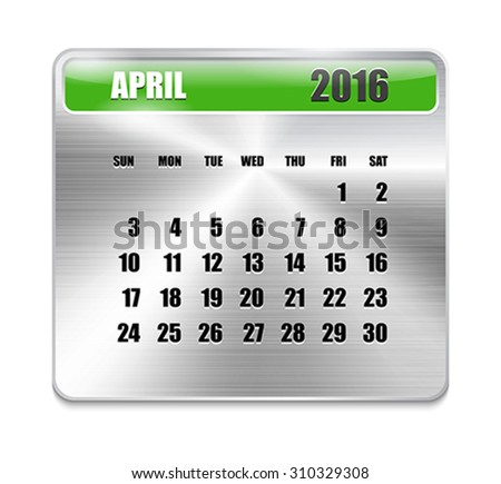 Monthly calendar for April 2016 on metallic plate, orange holidays. Can be used for business and office calendars, website design, prints etc. Vector Illustration - stock vector