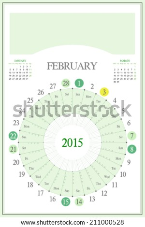 Monthly calendar for 2015. Highlighted saturday, sunday, full moon (UTC). 3:2 aspect ratio. Editable. Blank space for logo or image on the top. February. - stock vector