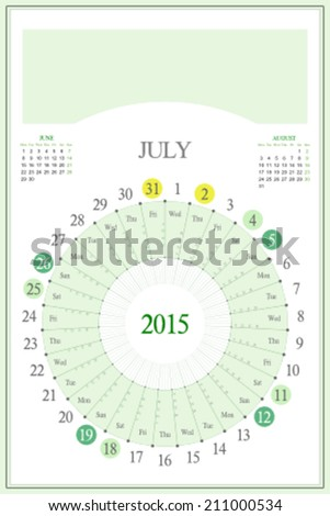 Monthly calendar for 2015. Highlighted saturday, sunday, full moon (UTC). 3:2 aspect ratio. Editable. Blank space for logo or image on the top. July. - stock vector