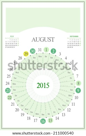 Monthly calendar for 2015. Highlighted saturday, sunday, full moon (UTC). 3:2 aspect ratio. Editable. Blank space for logo or image on the top. August. - stock vector