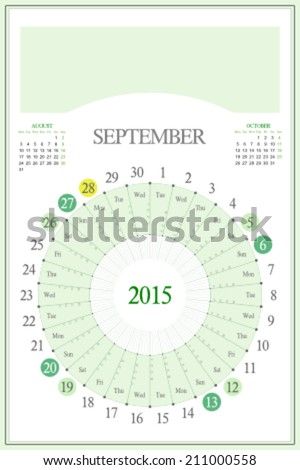Monthly calendar for 2015. Highlighted saturday, sunday, full moon (UTC). 3:2 aspect ratio. Editable. Blank space for logo or image on the top. September. - stock vector