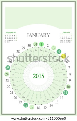 Monthly calendar for 2015. Highlighted saturday, sunday, full moon (UTC). 3:2 aspect ratio. Editable. Blank space for logo or image on the top. January. - stock vector