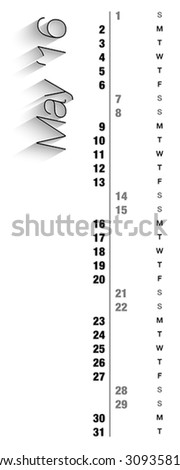 Monthly calendar for May 2016 with vertical digits, grey holidays and empty space for special notes, records and logos. Can be used for business and office calendars, website design, prints - stock vector