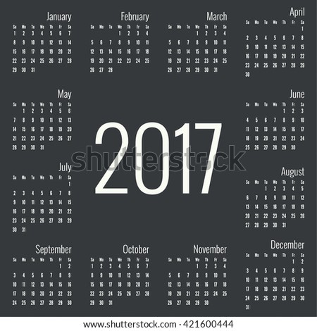 Monthly Calendar for 2017.  Simple month grid template. Vector. Black. Numeric dates. All the seasons and months. January, February, March, April, may, June, July, August, September, October, November - stock vector