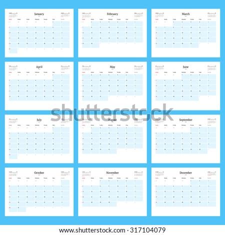 monthly calendar planner 2016 print template stock vector 317104079