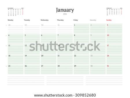 Monthly Calendar Planner 2016. Vector Print Template. January. Week Starts Monday - stock vector
