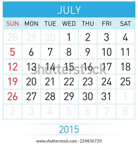 Monthly calendar template for July of year Twenty Fifteen - stock vector