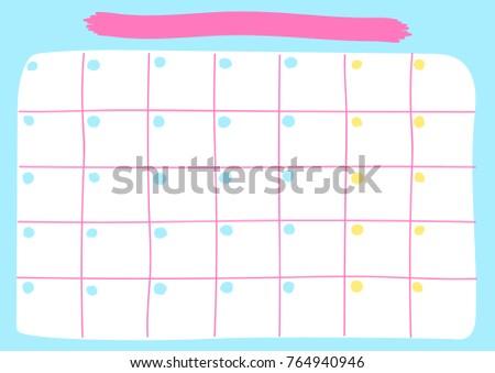 Monthly Calendar Template Printable Pastel Calendar Stock Vector
