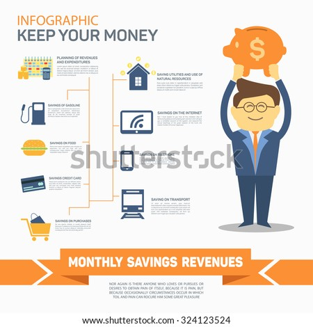 Monthly expenses template. Vector illustration. Can be used for workflow layout, banner, diagram, number options, web design, infographics, timeline. - stock vector