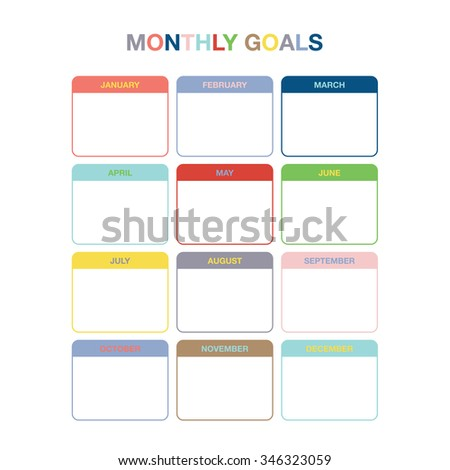 monthly goals calendar template year 2016 stock vector 346323059