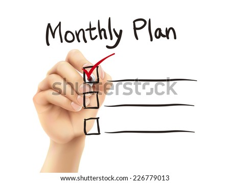 monthly plan words written by 3d hand over white background