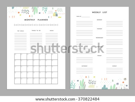 Monthly Planner plus Weekly List Templates. Organizer and Schedule with Notes and To Do List. Vector. Isolated - stock vector
