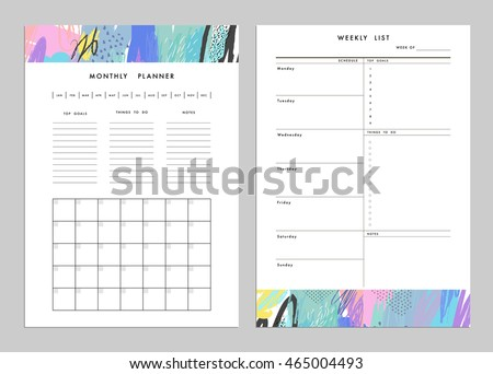 Monthly Planner Plus Weekly List Templates Stock Vector 465004493