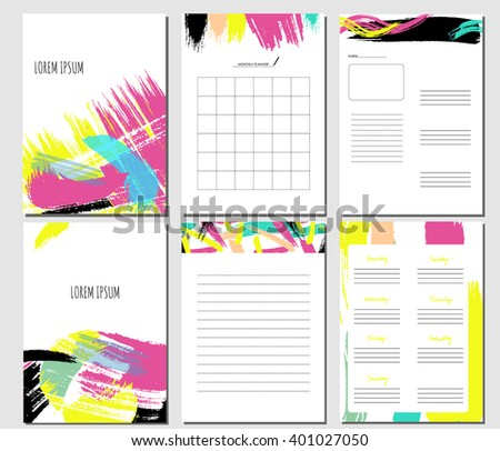 Monthly Planner. Template for notebooks, diary. Brush stroke elements