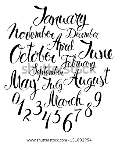 Months of the year and numbers - stock vector