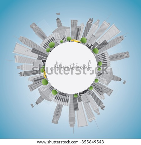 Montreal skyline with grey buildings, blue sky and copy space. Vector illustration. Business travel and tourism concept with place for text. Image for presentation, banner, placard and web site.