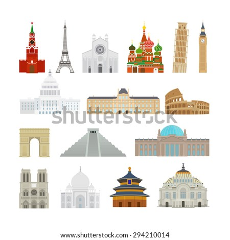 Monuments modern flat icons. Pagoda and Reichstag, Taj Mahal and Leaning Tower of Pisa - stock vector