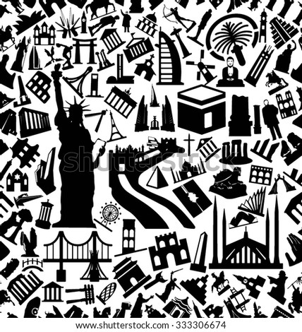 Monuments Solid Icons Pattern - stock vector