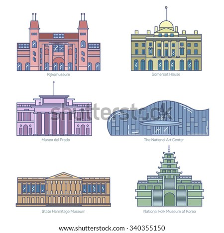 Monuments thin line vector icons. Amsterdam state museum, Somerset House, The National Art Center, State Hermitage Museum, National Folk Museum of Korea. - stock vector