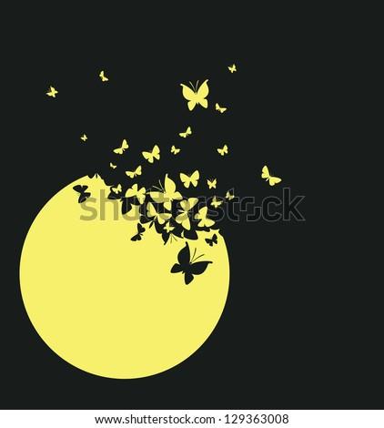 Moon and butterflies - stock vector