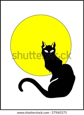 moon and cat - stock vector