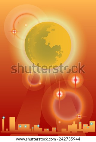Moon and city in the background orange. - stock vector