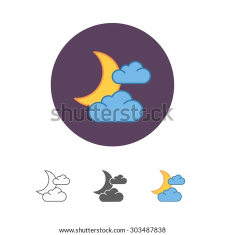 moon and cloud icon - stock vector