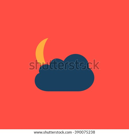Moon and clouds. Flat simple modern illustration pictogram. Collection concept icon for infographic project and logo - stock vector