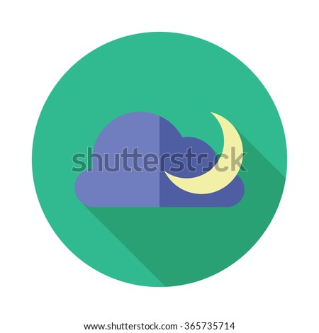 Moon and clouds icon. Sleep dreams symbol. Night or bed time sign with shadow. - stock vector