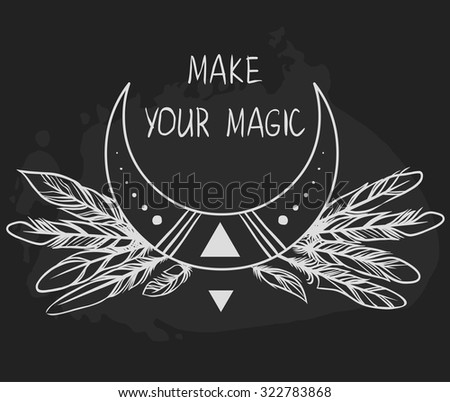 Moon and feathers on black background. Vector illustration - stock vector