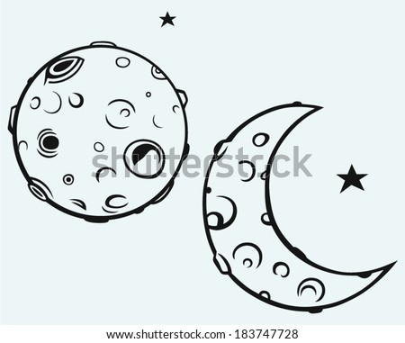 Moon and lunar craters - stock vector
