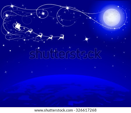 moon and santa on his reindeer on blue dark sky flying to earth, vector illustration - stock vector