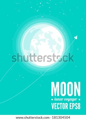 Moon and spacecraft - stock vector