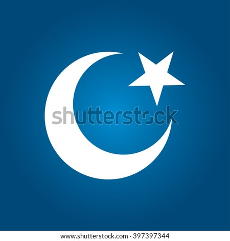Moon and star islamic icon